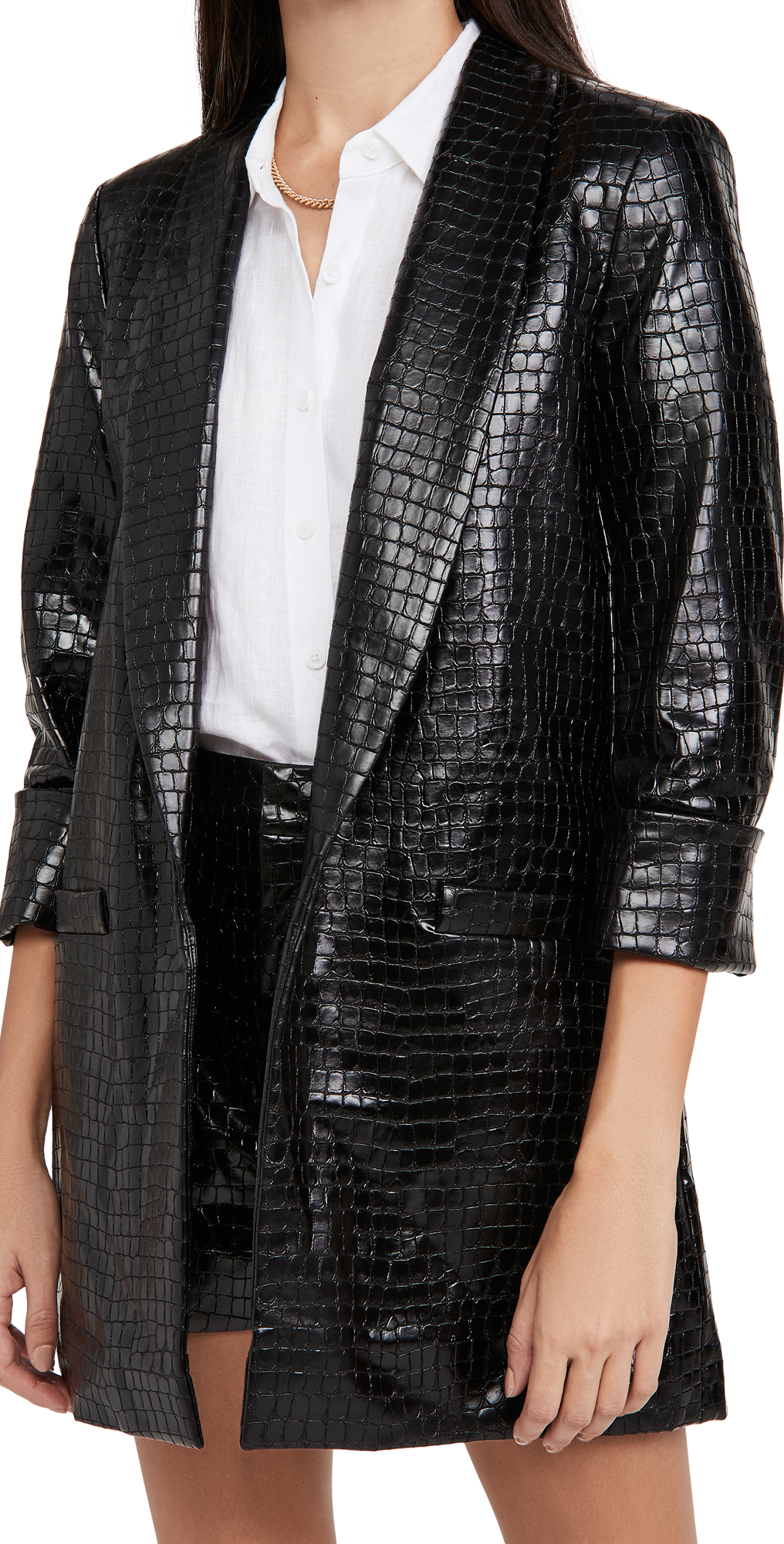 alice + olivia Kylie Vegan Leather Shawl Collar Jacket