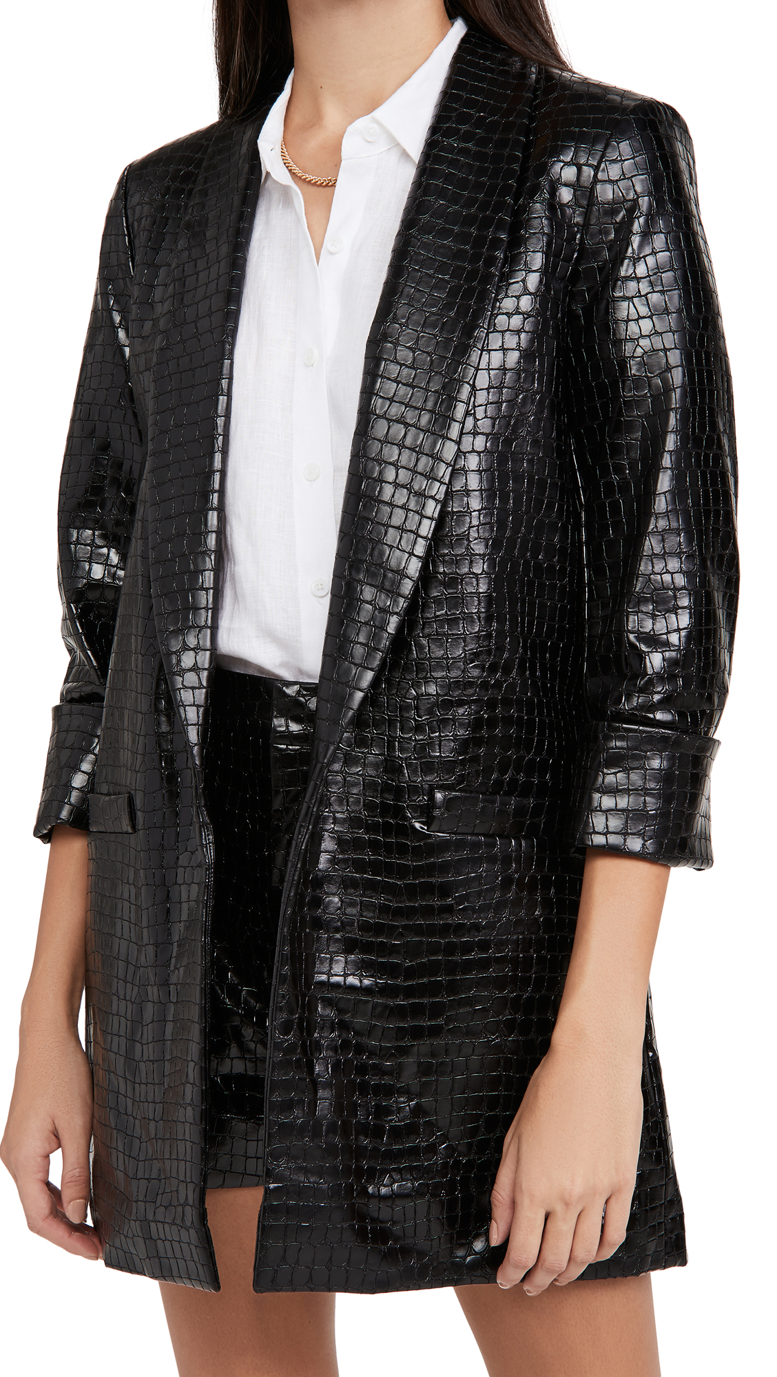 alice + olivia Kylie Vegan Leather Shawl Collar Jacket