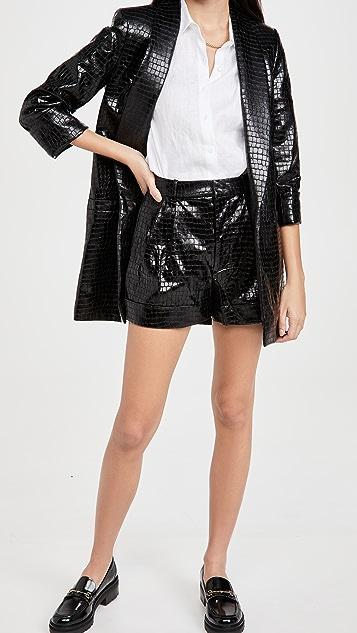 alice + olivia Conry Vegan Leather Pleat Cuff Shorts
