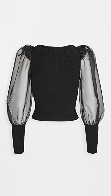 alice + olivia Abella Puff Sleeve Boatneck Sweater