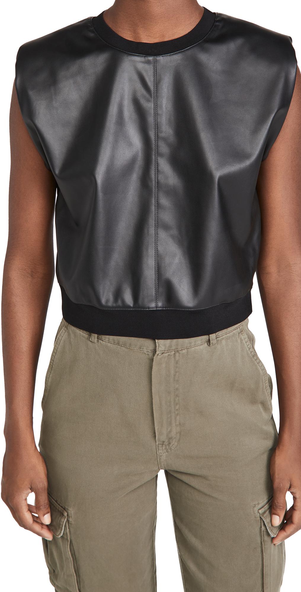 alice + olivia Kendrick Strong Shoulder Vegan Leather Top