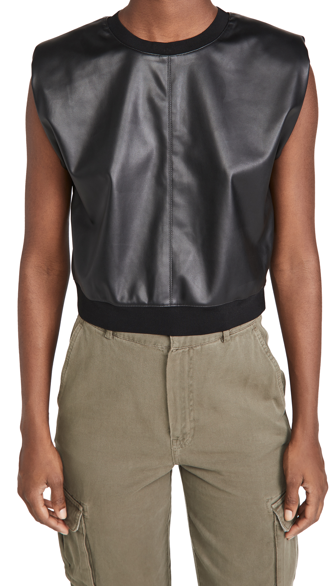 alice + olivia Kendrick Strong Shoulder Vegan Leather Top