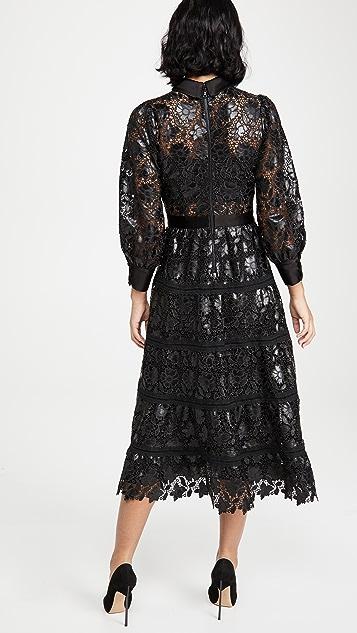 alice + olivia Anaya Collared Tiered Dress