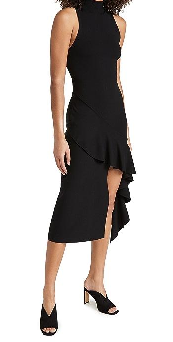 alice + olivia Angelia Double Knit Ruffle Dress - Black