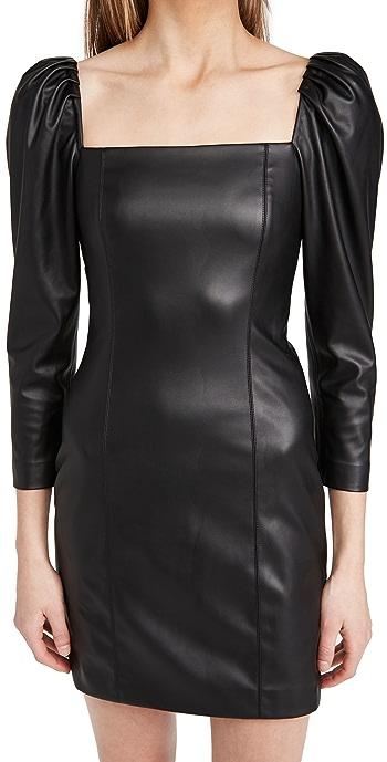 alice + olivia Frances Vegan Leather Puff Sleeve Mini Dress - Black