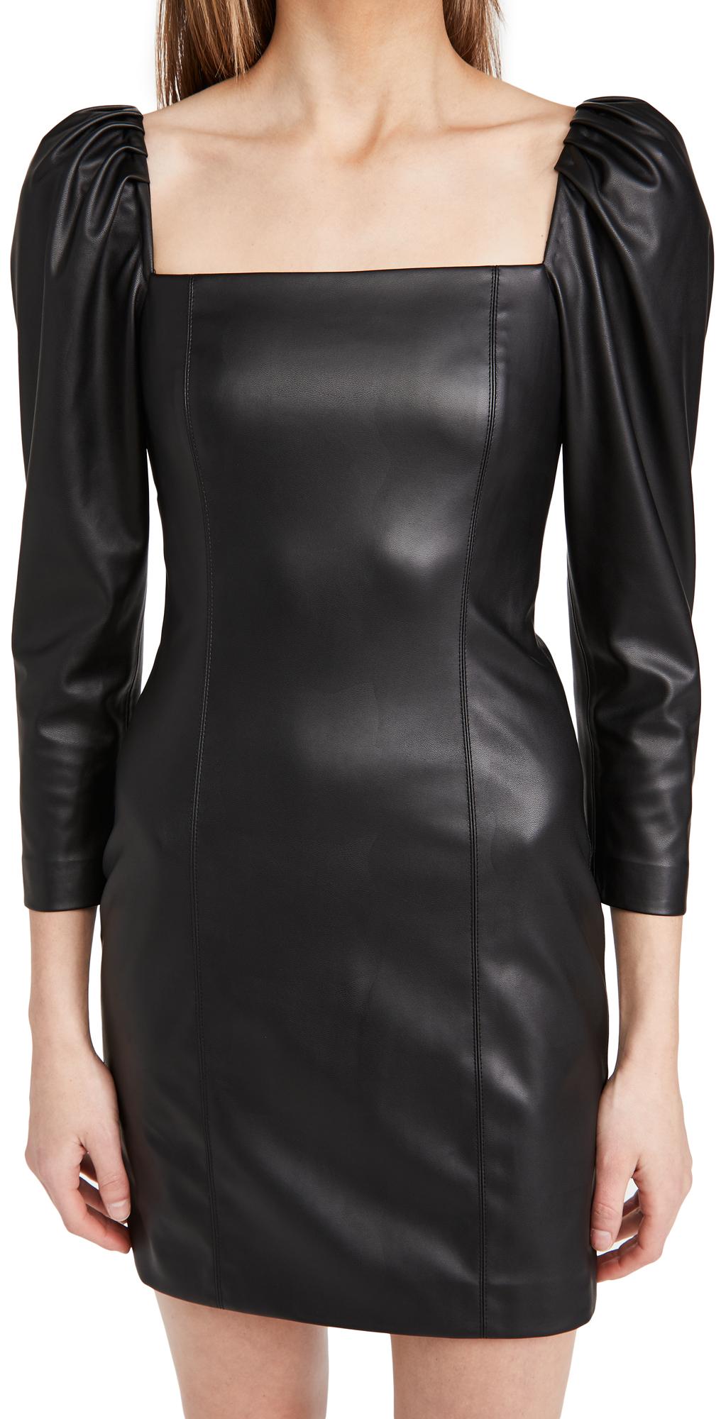 alice + olivia Frances Vegan Leather Puff Sleeve Mini Dress