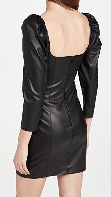alice + olivia Frances Vegan Leather Puff Sleeve Mini Dress
