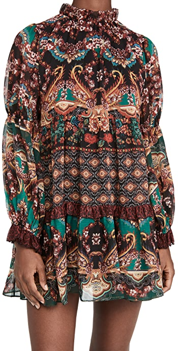 alice + olivia Marella Mock Neck Long Sleeve Tunic Dress - Spellbound Multi