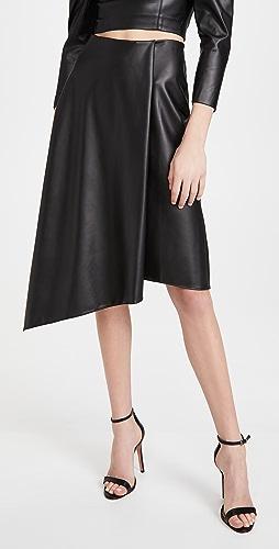alice + olivia - Jayla Vegan Leather Drape Slit Skirt