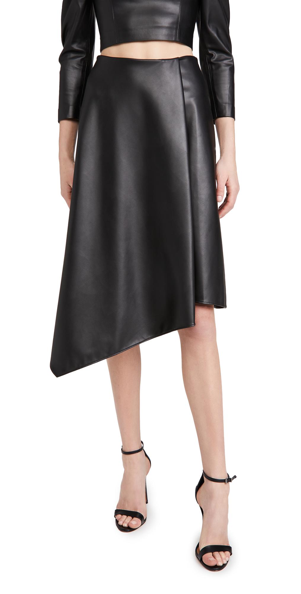 alice + olivia Jayla Vegan Leather Drape Slit Skirt
