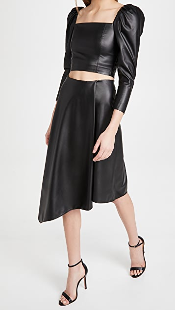 alice + olivia Jayla 仿皮垂褶开衩半身裙