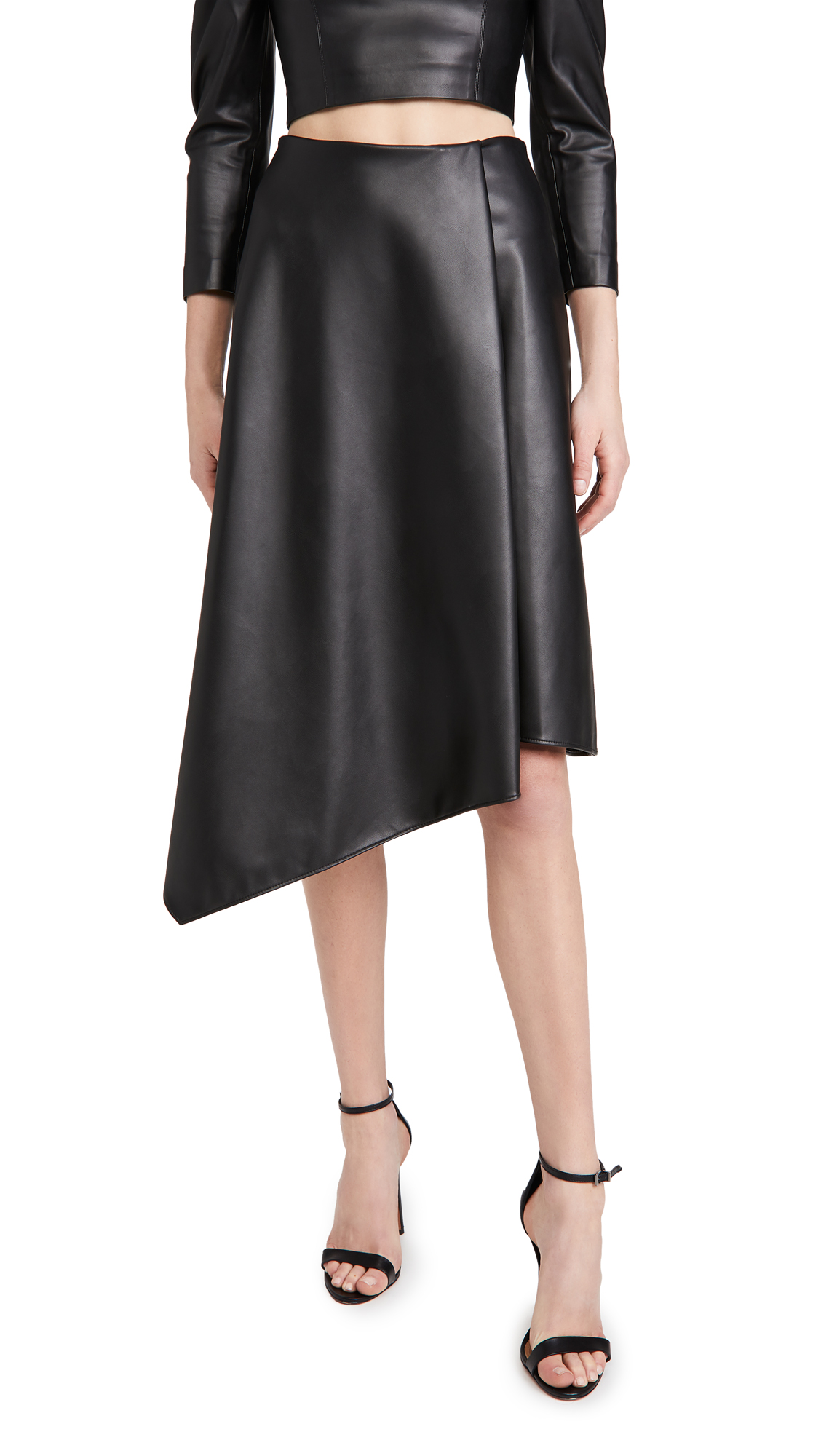 alice + olivia Jayla Vegan Leather Drape Slit Skirt