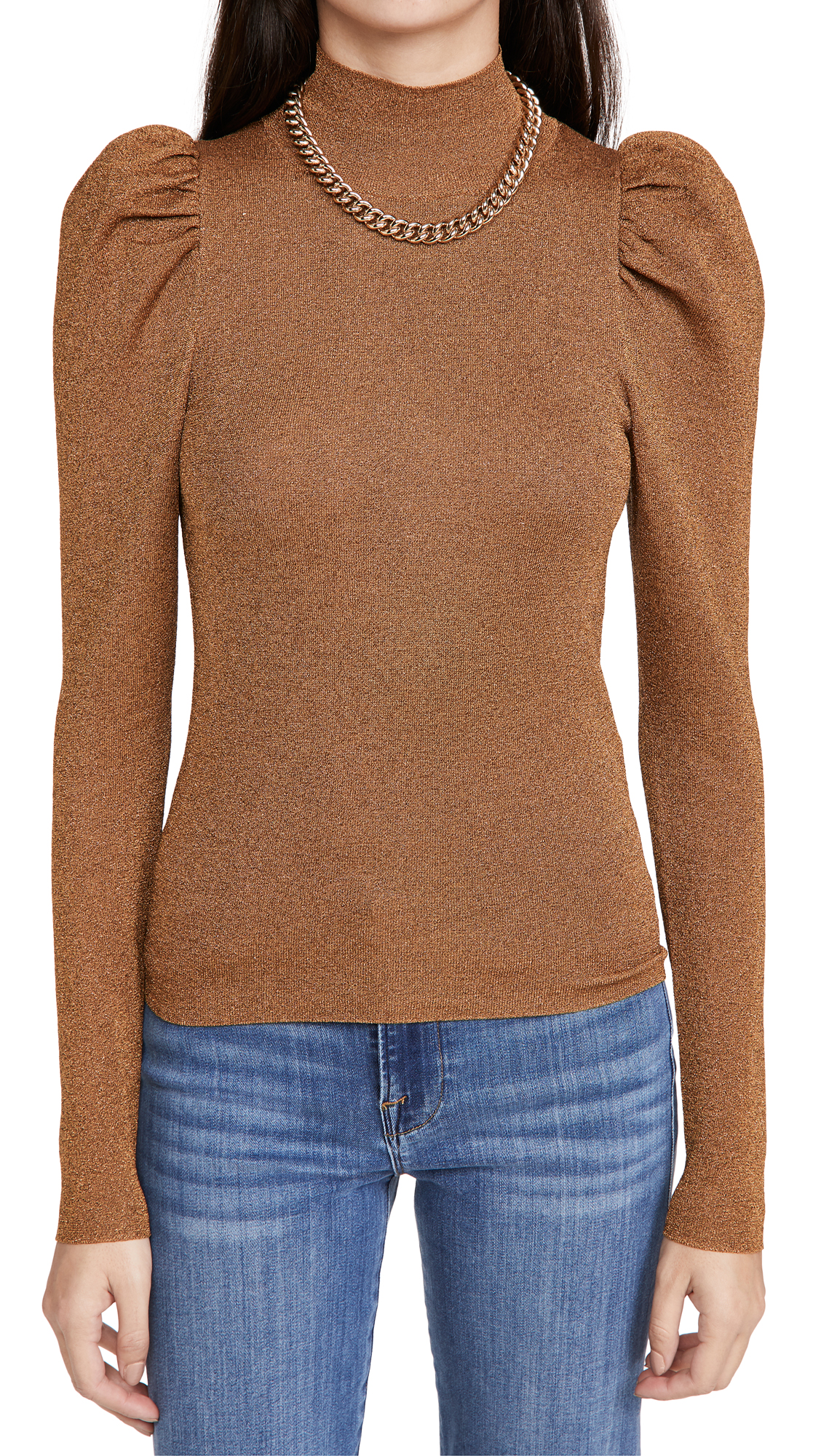 alice + olivia Issa Turtleneck Puff Sleeve Fitted Pullover