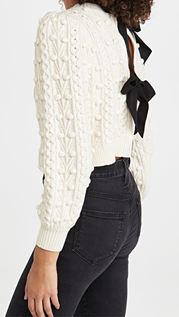 alice + olivia Kitty Puff Sleeve Cardigan with Tie Bow