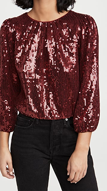 alice + olivia Avila Sequin Crew Neck Blouson Sleeve Top