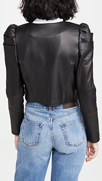 alice + olivia Addison Leather Puff Sleeve Cropped Jacket