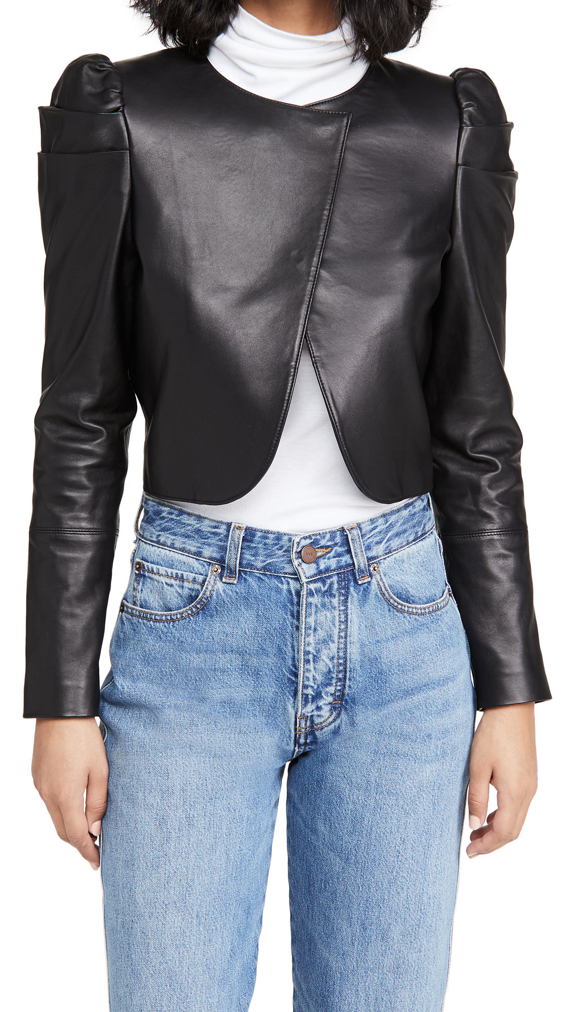 alice + olivia Addison Leather Puff Sleeve Cropped Jacket