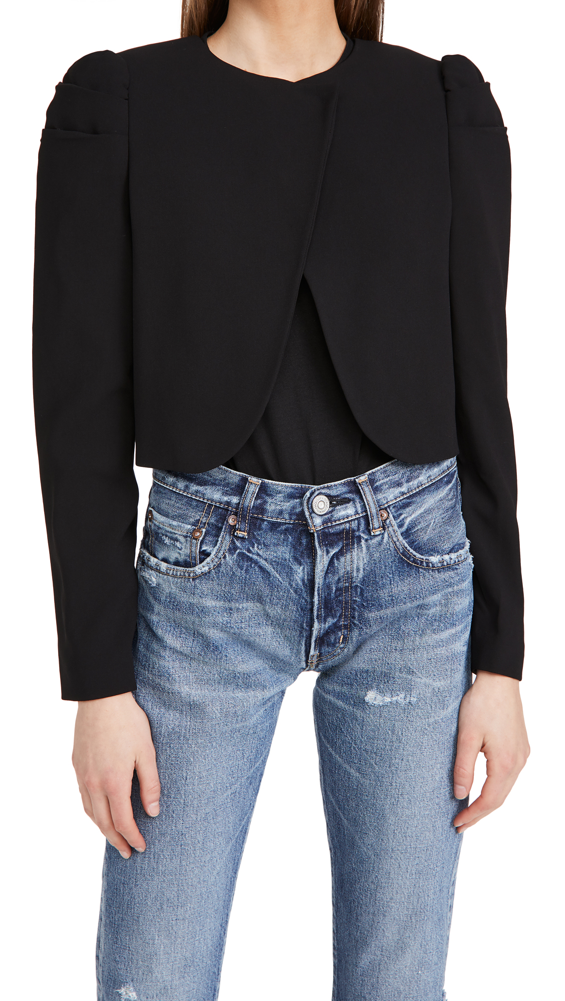 alice + olivia Addison Puff Sleeve Cropped Jacket