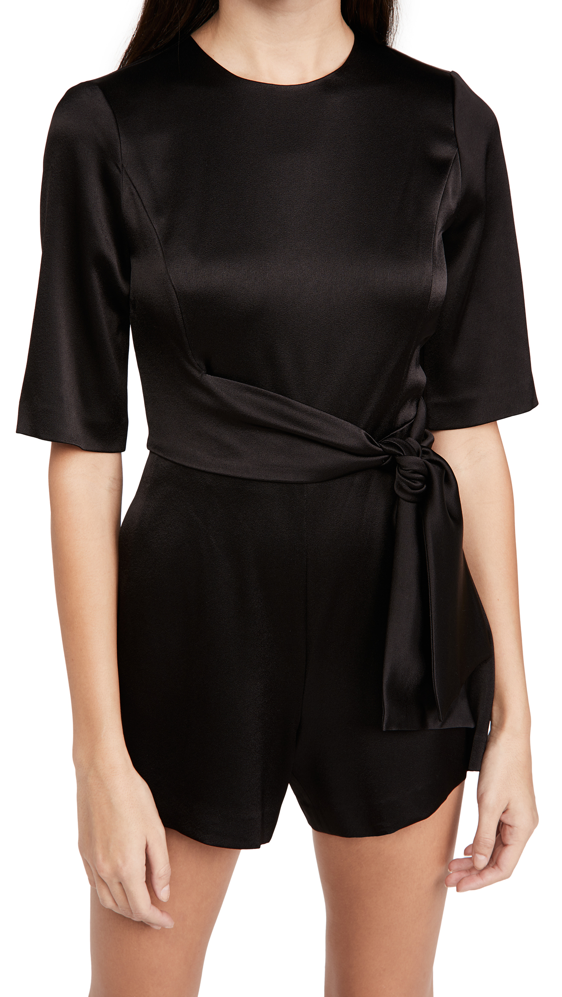 alice + olivia Virgil Crew Neck Romper with Belt