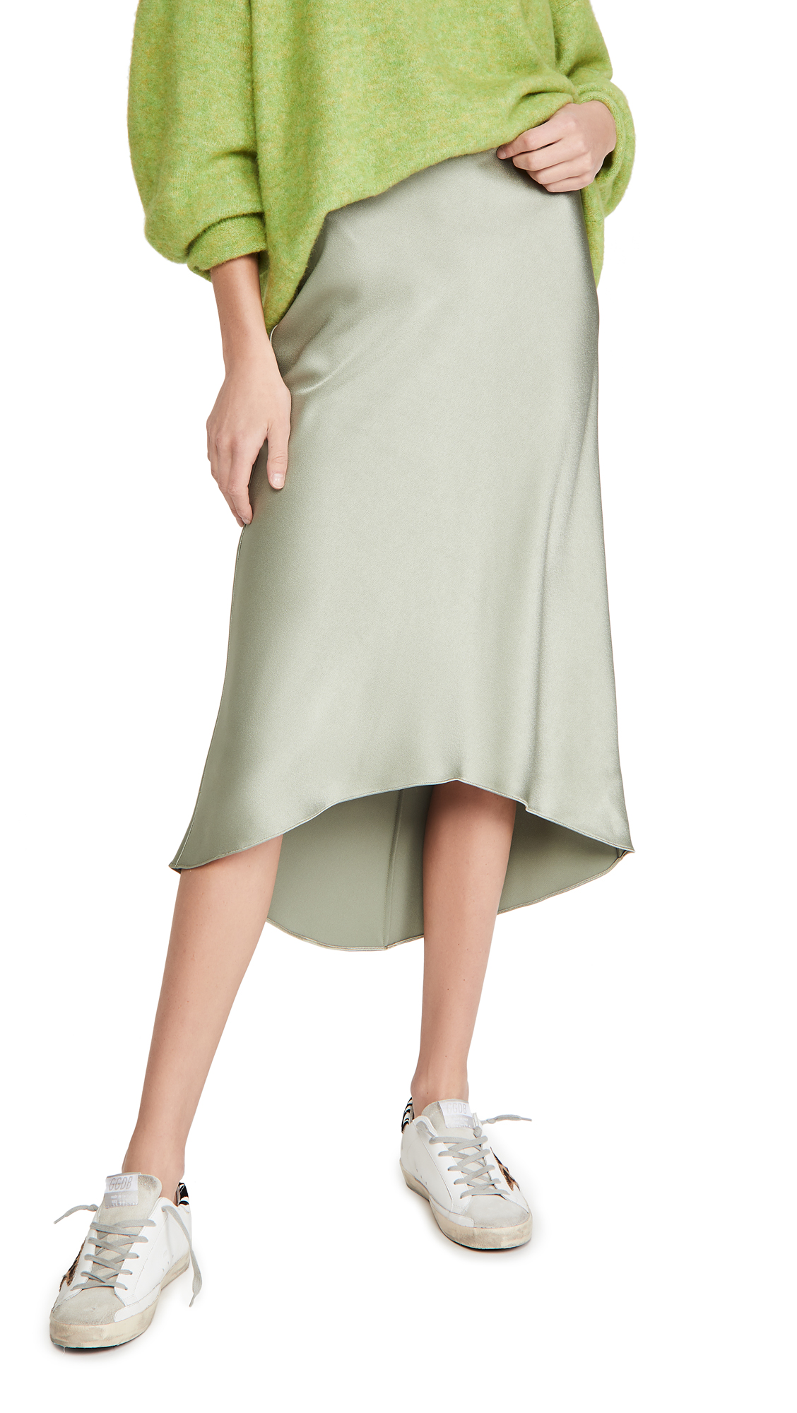 alice + olivia Maeve High Low Slip Skirt