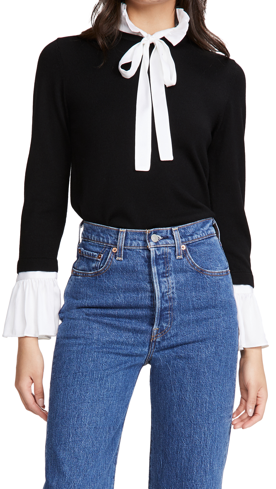 alice + olivia Cornelia Pullover with Ruffle Tie Neck and Cuffs