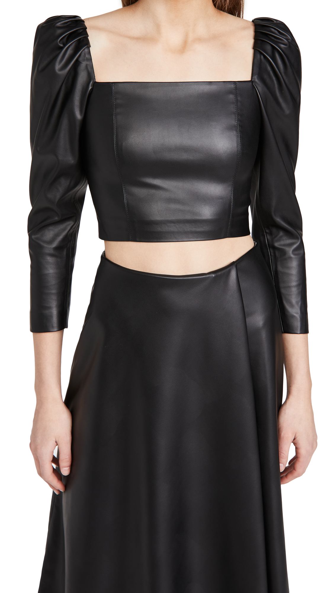 alice + olivia Francesca Vegan Leather Puff Sleeve Top