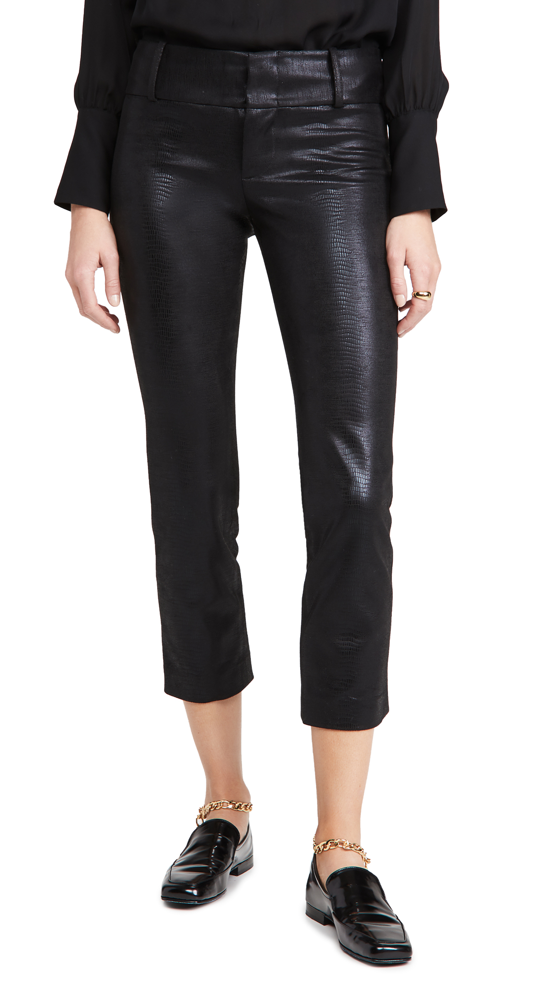 alice + olivia Stacey Vegan Leather Slim Pants