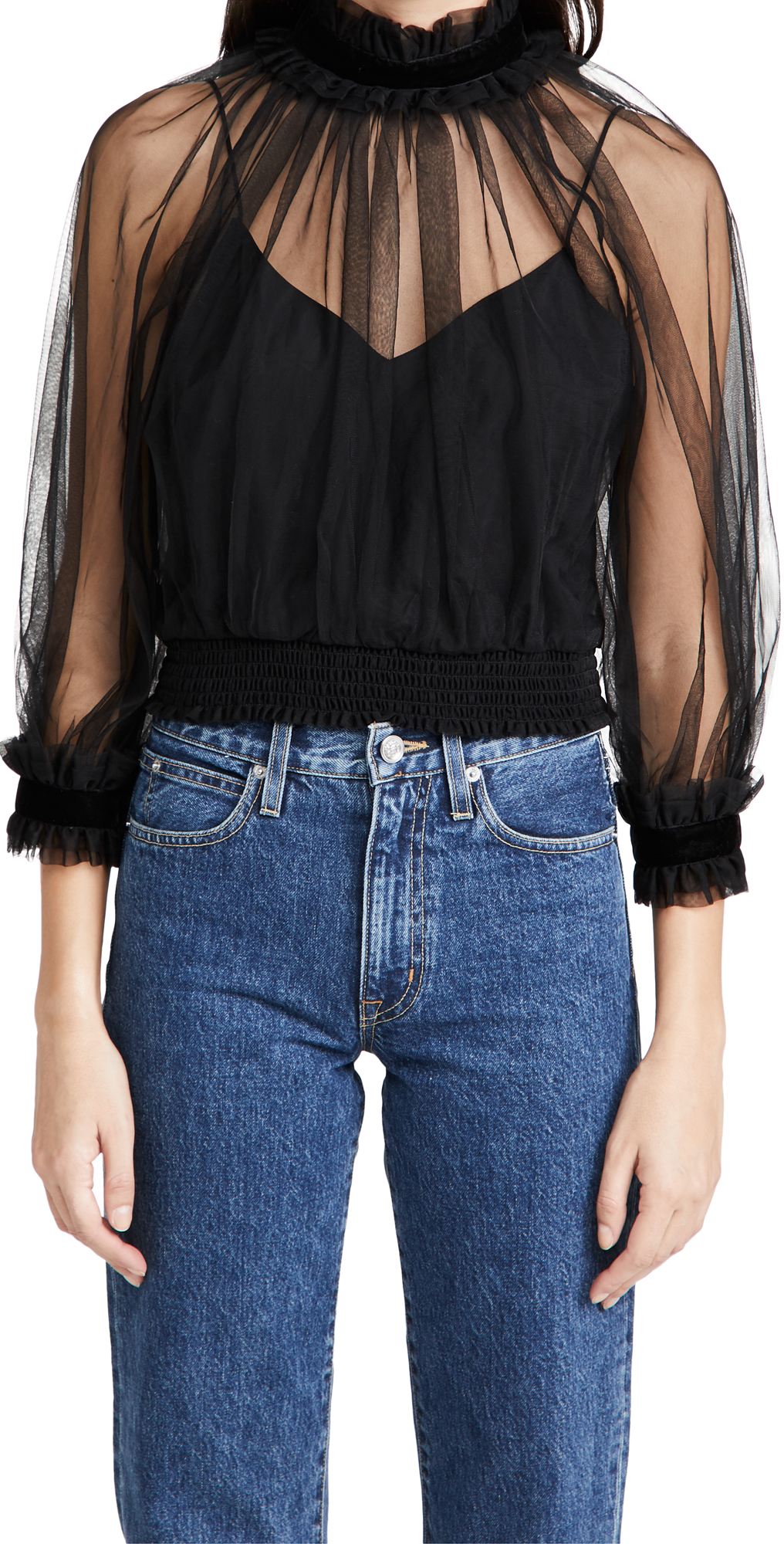alice + olivia Alexia Mock Neck Crop Top