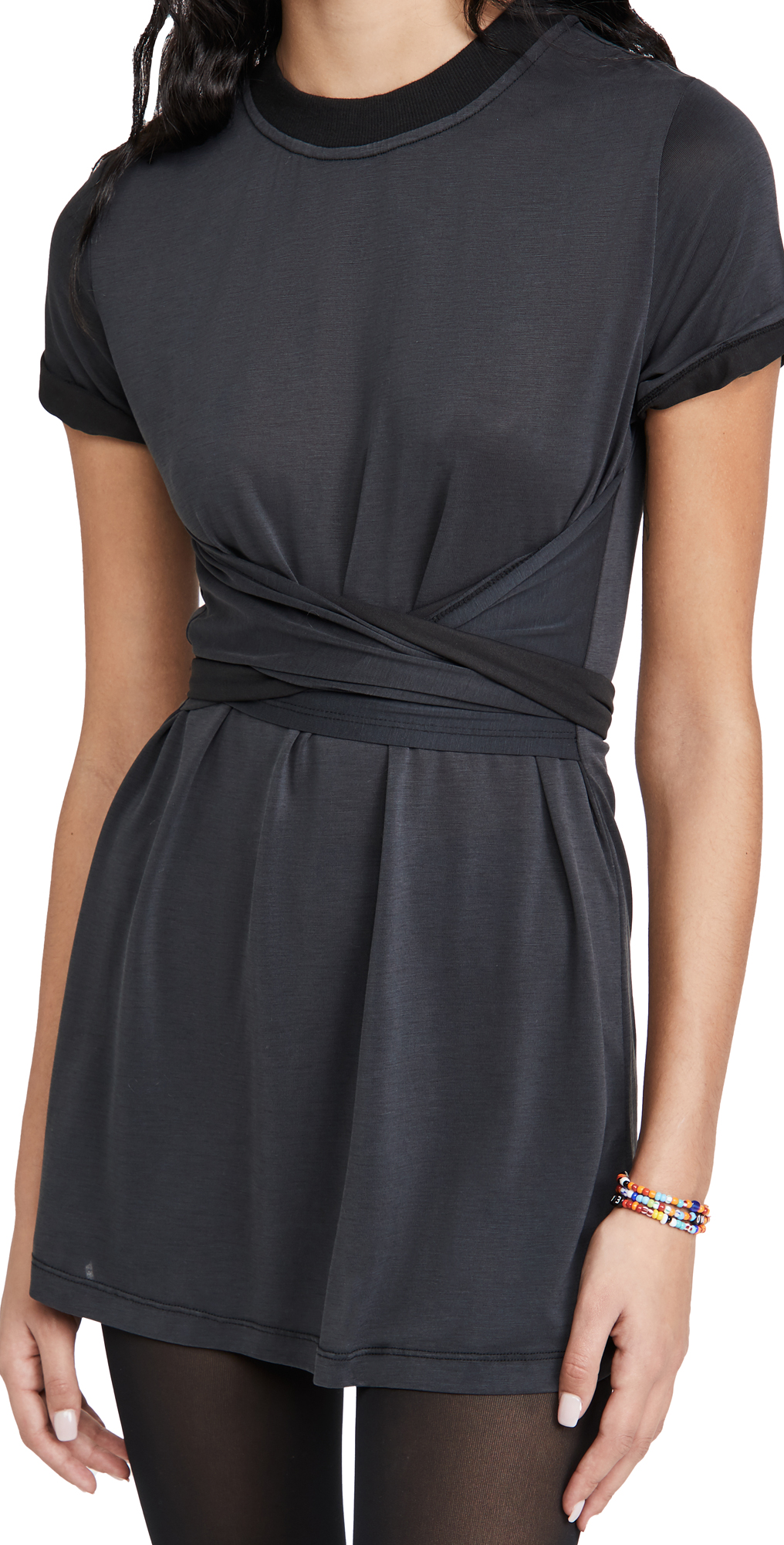 alice + olivia Jasset Roll Cuff Tie Back Dress