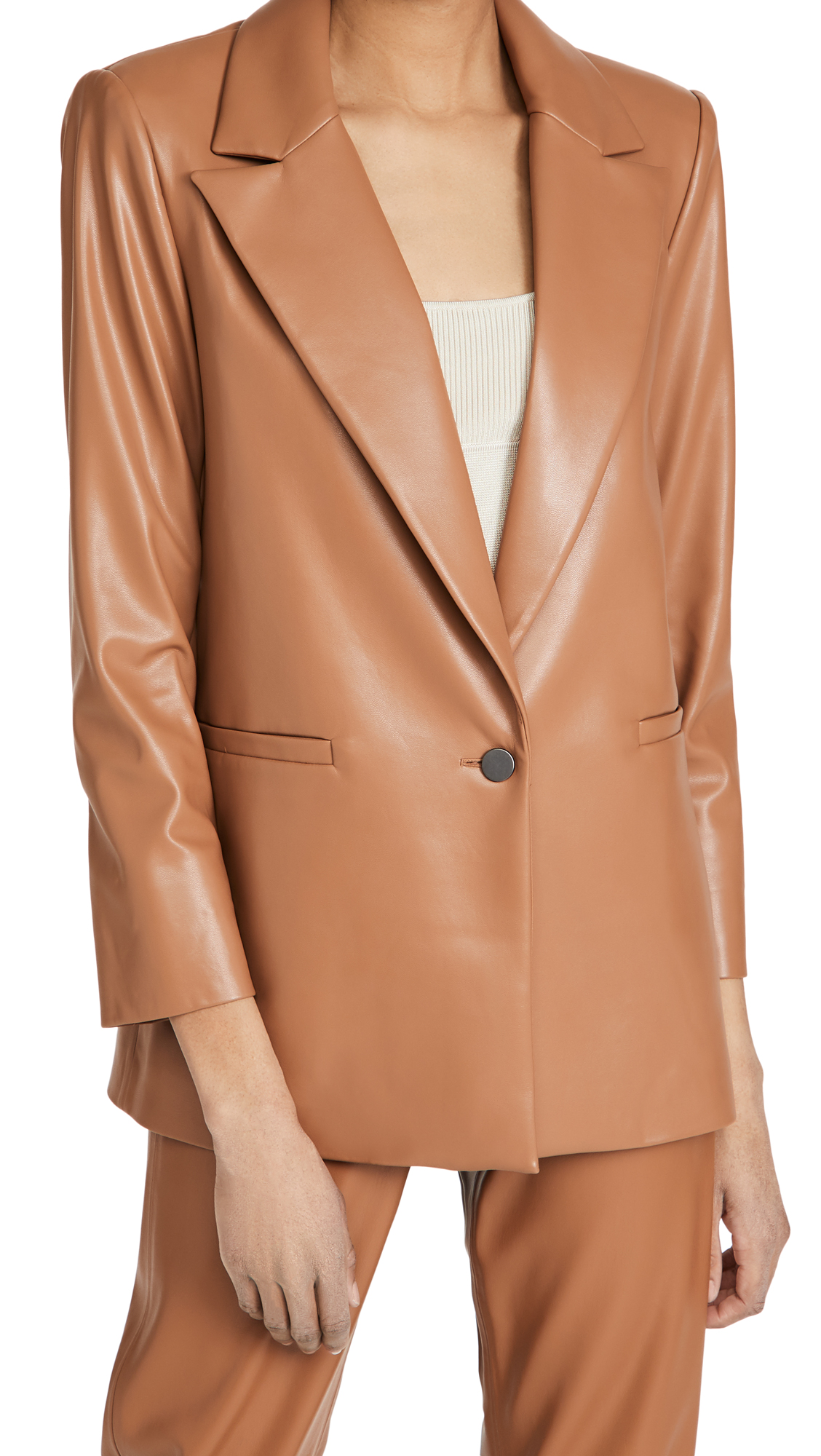 Alice And Olivia DUNN VEGAN LEATHER BLAZER