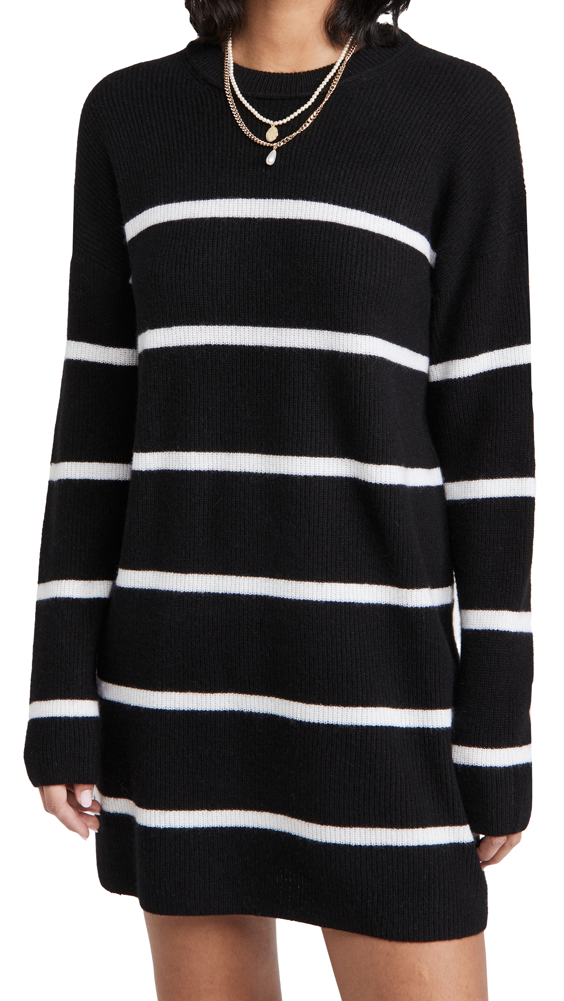 alice + olivia Lennie Striped Cashmere Tunic Mini Dress