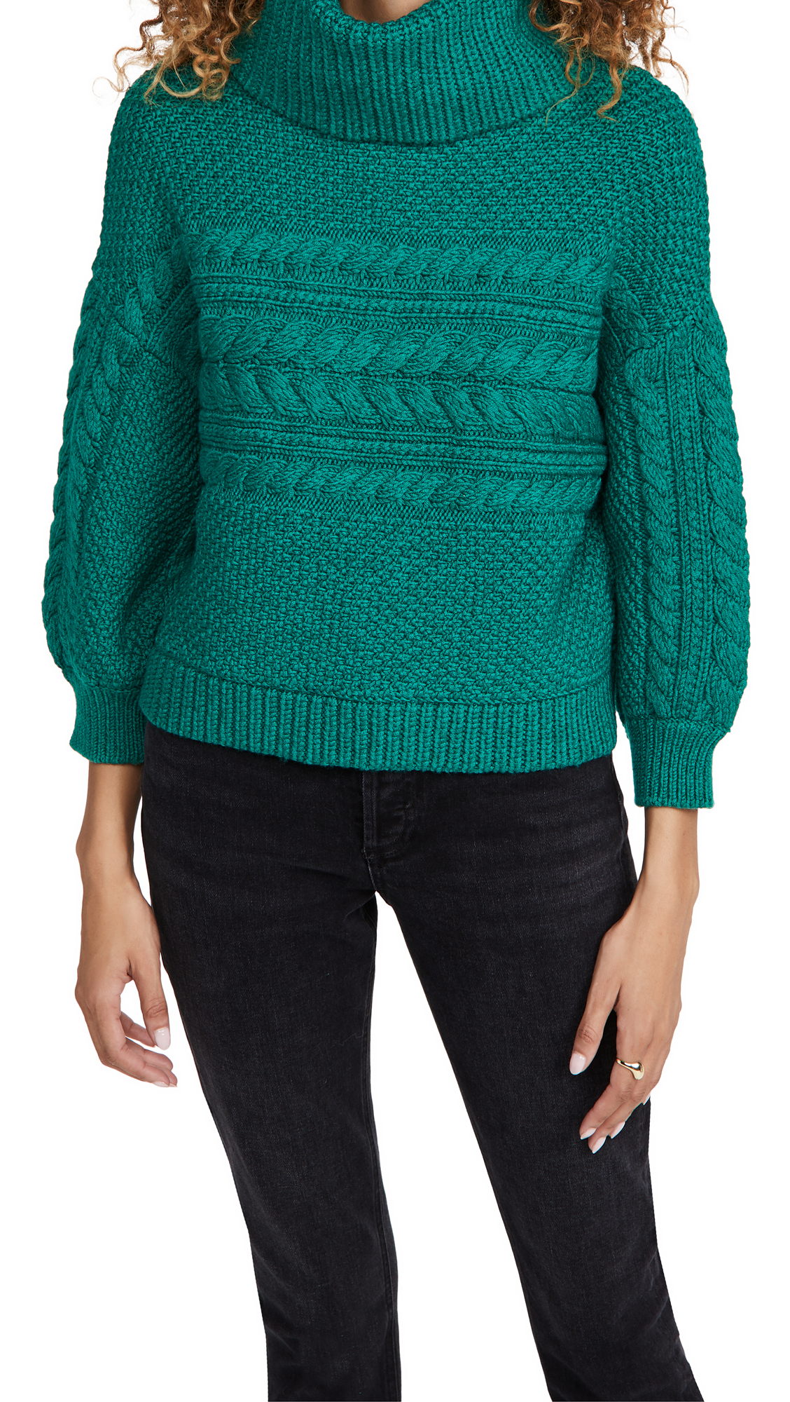 alice + olivia Francine Cable Knit Turtleneck