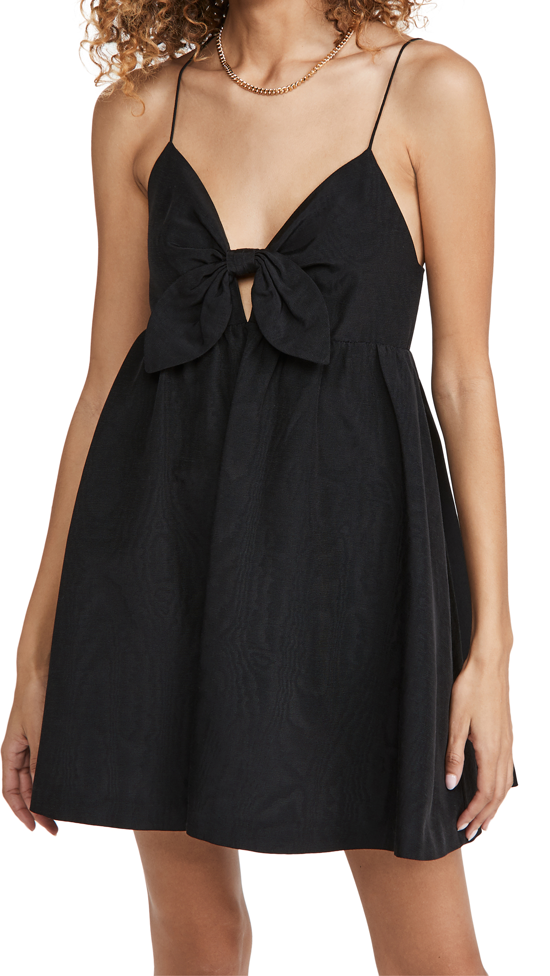 ALICE AND OLIVIA MELVINA TIE GATHERED BABYDOLL DRESS