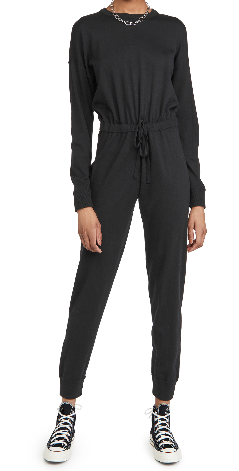alice + olivia Nikita Knit Jumpsuit with Drawstring Waist