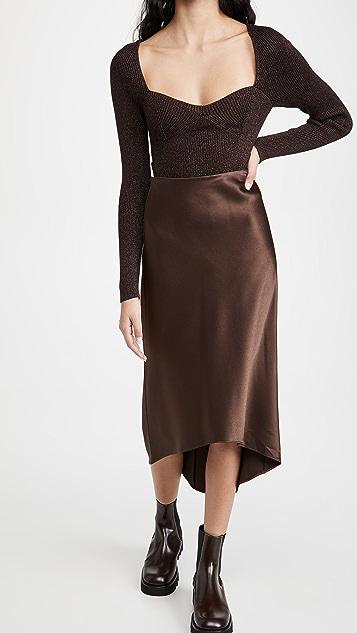 alice + olivia Maeve High Low Slip Skirt