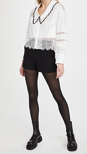alice + olivia Dylan 高腰细褶短裤