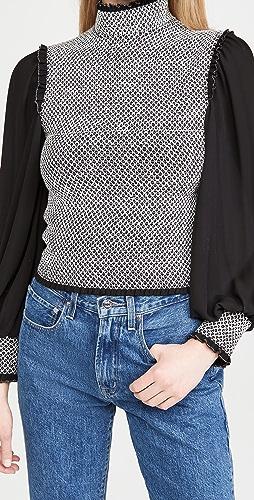 alice + olivia - Aviva 灯笼袖抽褶女式衬衫