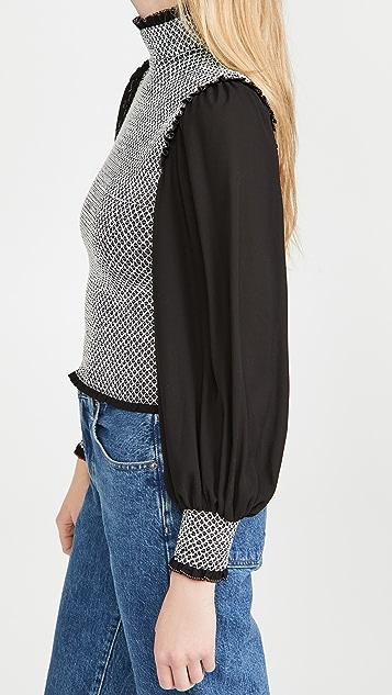 alice + olivia Aviva 灯笼袖抽褶女式衬衫