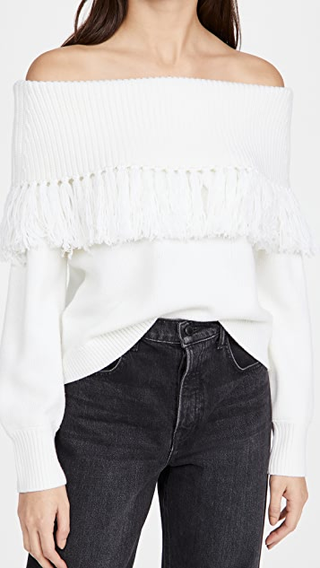 alice + olivia Bardot Fringe Off Shoulder Pullover