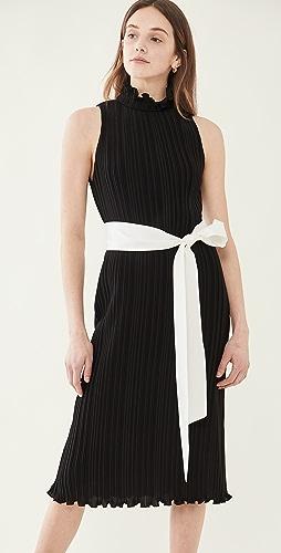 alice + olivia - Shayna Pleated Dress with Tie Belt