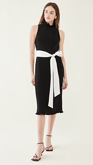 alice + olivia Shayna 系带腰带裥褶连衣裙