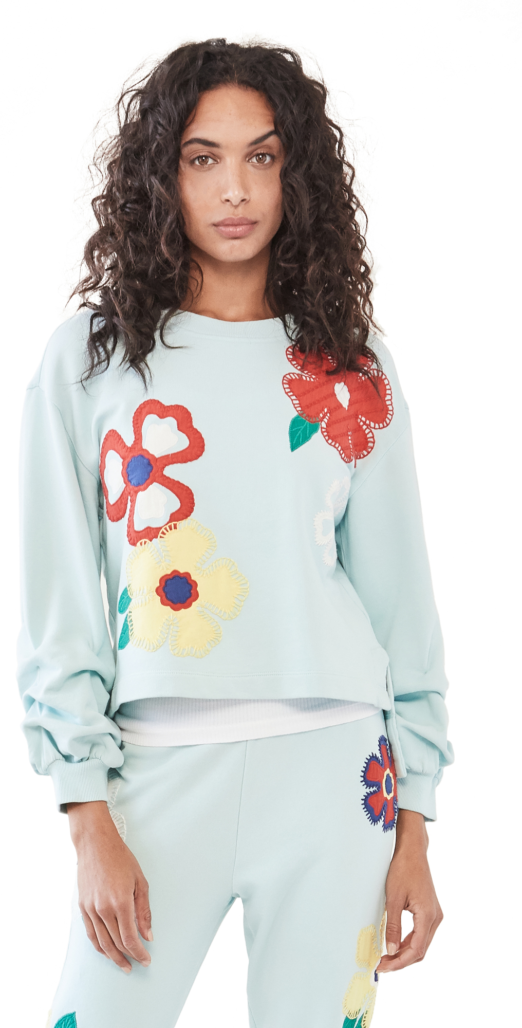 Alice And Olivia Cottons GAIA EMBROIDERED SWEATSHIRT