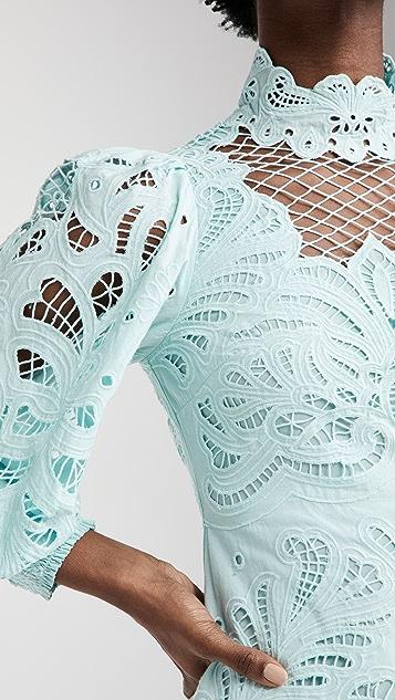 alice + olivia Yazmin 合身喇叭形圆孔连衣裙
