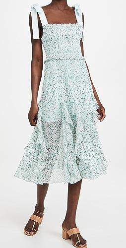 alice + olivia - Jocelyn Smock Midi Dress with Bow Straps