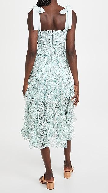 alice + olivia Jocelyn Smock 蝴蝶结肩带中长连衣裙