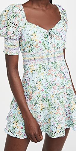 alice + olivia - Crawford 鸡心领泡泡袖迷你连衣裙