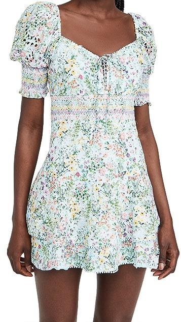 alice + olivia Crawford 鸡心领泡泡袖迷你连衣裙