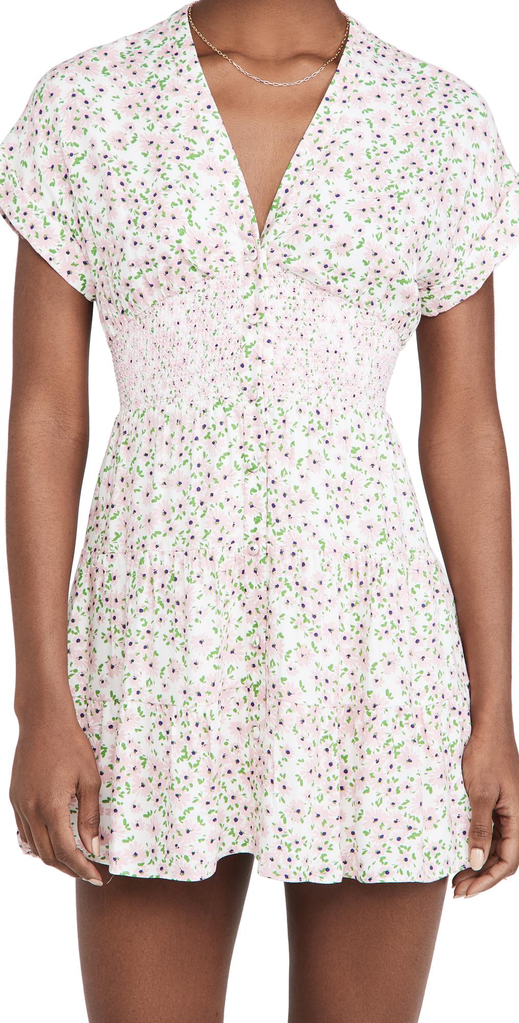 alice + olivia Keela Smocked Waist Mini Dress