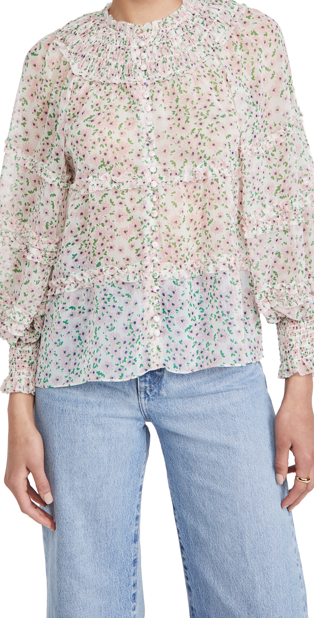 alice + olivia Margery Ruffle Tiered Blouse