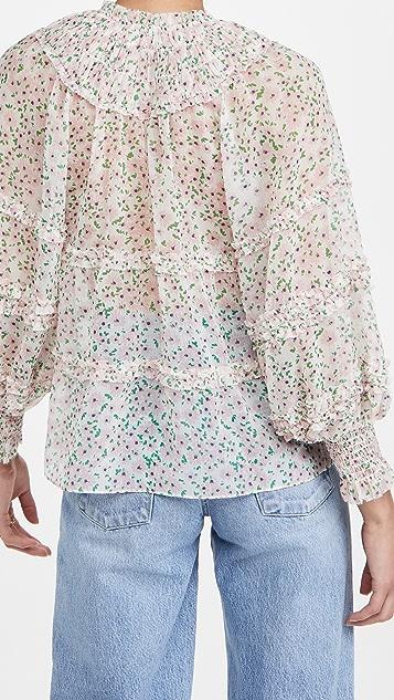 alice + olivia Margery 荷叶边层褶女式衬衫